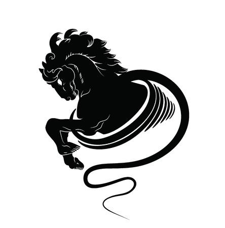 horse vector: Horse head and front hooves. Vector  emblem Illustration