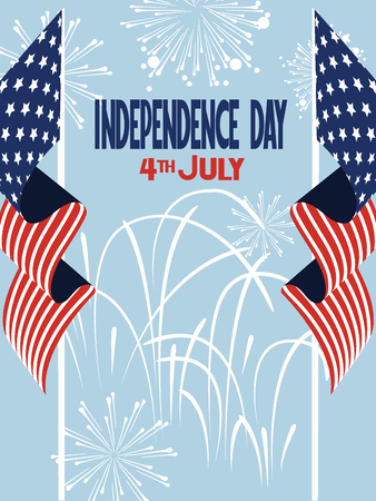 Independence Day vector illustration with American Flags and fireworks