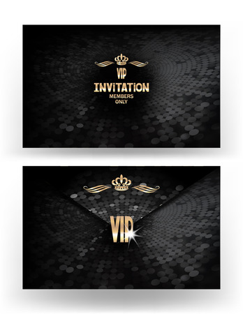 members: Set of VIP invitation envelope withl textured background