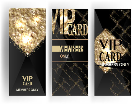 platinum: Set of VIP vertical cards with gold textured elements