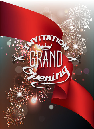 Vector illustration with fireworks and red ribbon. Grand Opening invitation.