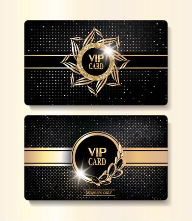 VIP-Gold-Karten mit eleganten Schnörkel und strukturierten Hintergrund