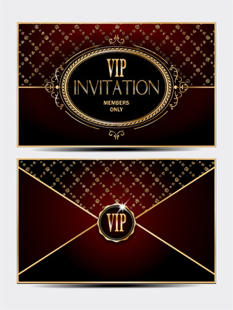private club: VIP gold and red vintage envelope front and back sides
