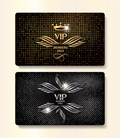 VIP gold and silver cards with elegant flourishes and textured background