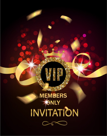 VIP invitation card with gold confetti and ribbon and glowing background