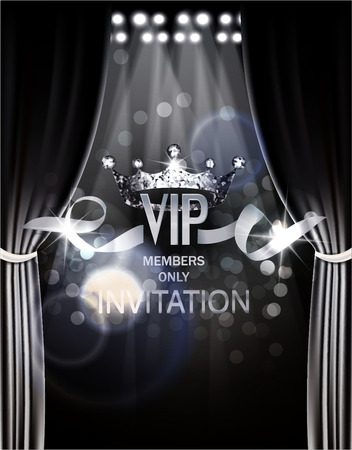 VIP invitation card with silver theater curtains and spotlights on the background