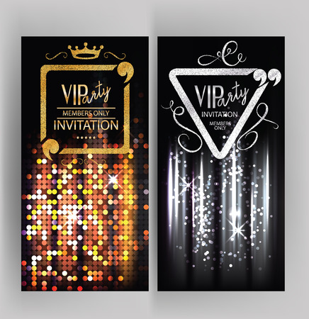 members: VIP party invitation card with abstract sparkling background Stock Photo