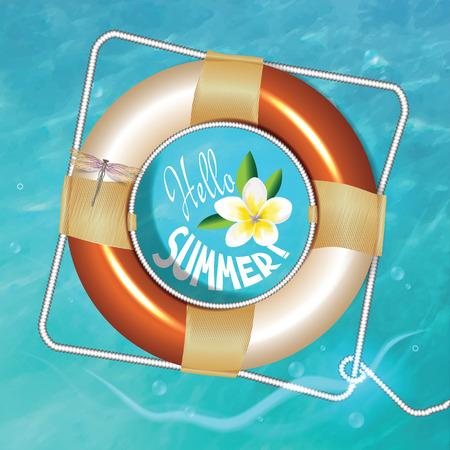 frangipani flower: Sea waves, Lifebuoy and frangipani flower, vector illustration