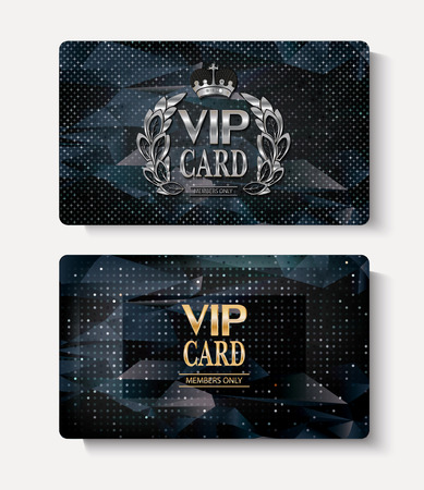 private club: Set of VIP cards with polygonal textured background Stock Photo