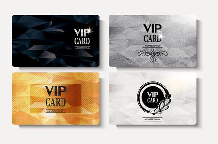 Set van goud VIP kaarten met veelhoekige geweven achtergrond Stockfoto