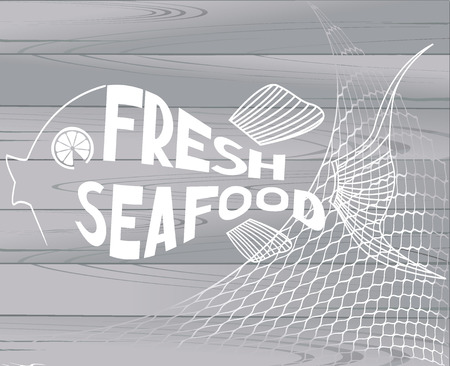 Seafood restaurant menu title pages with abstract fish and wooden background