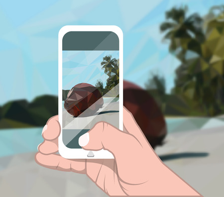 Vector illustration. Right hand holds mobile phone and makes photo of tropical landscape