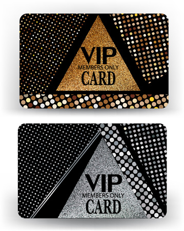 platinum: vip cards with modern geometric design and metallic texture. Vector illustration