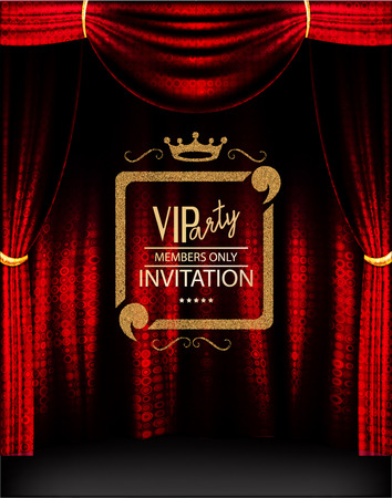 members: VIP invitation card with elegant shiny gold frame and theater red curtains