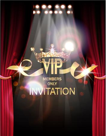 tarjeta de invitación VIP con las cortinas del teatro y las luces en la parte posterior