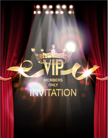 VIP invitation card with theater curtains and lights on the back