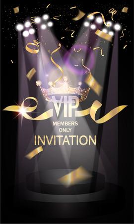 VIP-Einladungskarte mit goldconfetti, Theaterbühne und Scheinwerfer Standard-Bild - 55938674