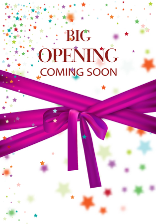 Big opening coming soon vector illustration with colorful stars and pink long ribbon