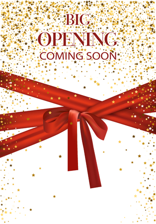 Big opening coming soon vector illustration with gold star and red long ribbon