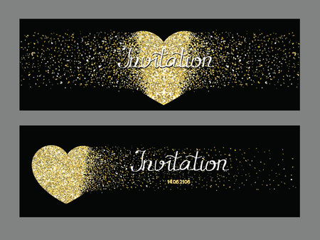 Black invitation cards with gold textured hearts