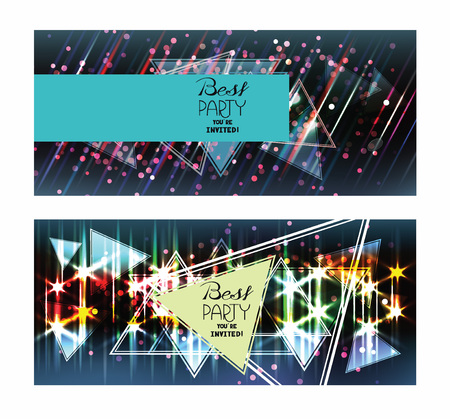 Bright disco shiny background. Party invitation Illustration