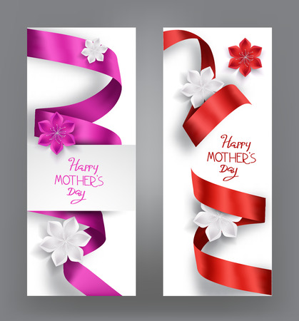 boarder: elegant cards with silk ribbons and flowers Illustration