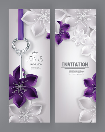 Elegant invitation cards with purple and white flowers and key