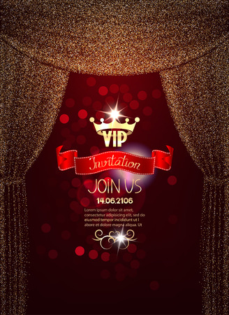 Elegant VIP invitation card with gold sparkling absrtacr curtains Ilustrace
