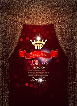 Elegant VIP invitation card with gold sparkling absrtacr curtains Illustration