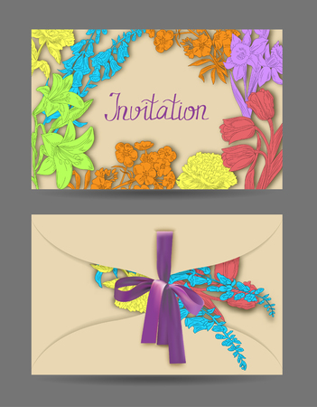 Envelope with hand drawn flowers and ribbon