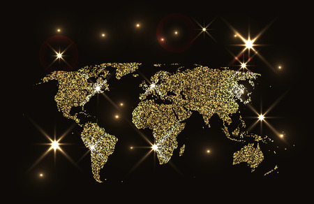 private club: Gold sparkling world map Illustration