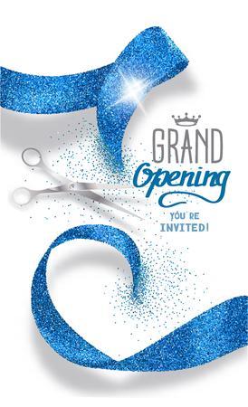 blue ribbon: Grand opening banner with abstract blue abstract ribbon and scissors