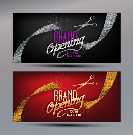 Grand Opening banners with abstract gold and silver ribbons and scissors Illusztráció