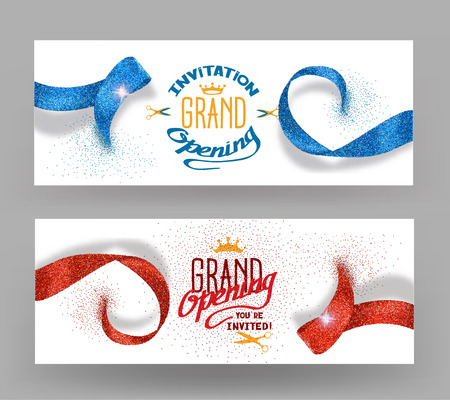 Grand opening banners with abstract red and blue ribbons