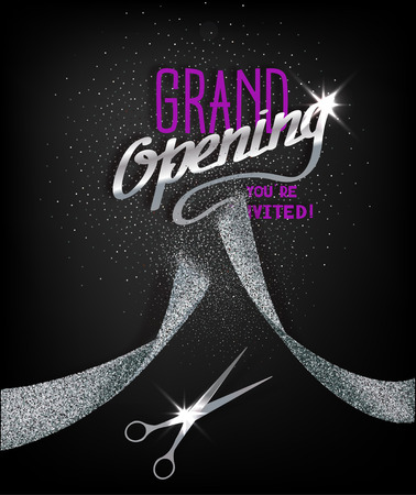 purple ribbon: Grand Opening card with abstract silver ribbon and scissors Illustration