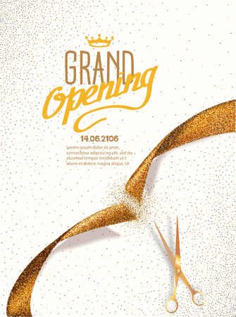 Grand Opening card with gold abstract ribbon and gold scissors