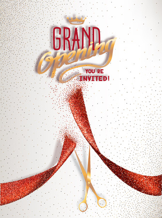 Grand Opening card with red abstract ribbon and gold scissors