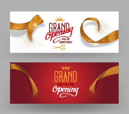 feier: Grand Opening horisontal Banner mit abstrakten Schnitt Bänder Gold Illustration