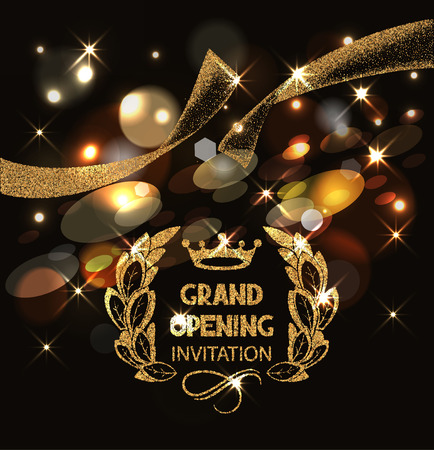 Grand opening invitation card with gold abstract sparkling ribbon and bokeh background Vectores