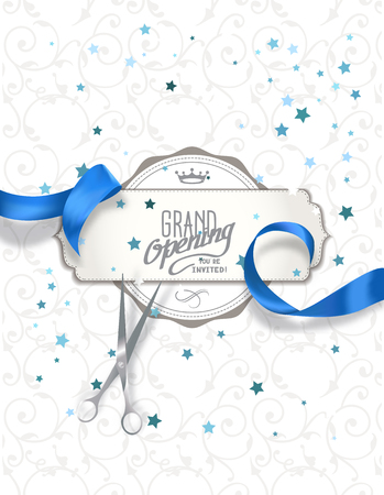 ribbon cutting: Grand opening invitation card with blue silk ribbon and scissors