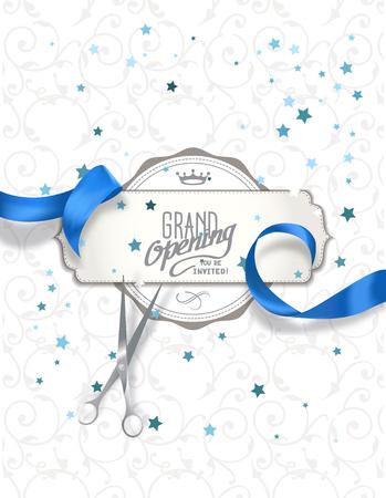 apertura: tarjeta de invitación de inauguración con la cinta de seda azul y tijeras