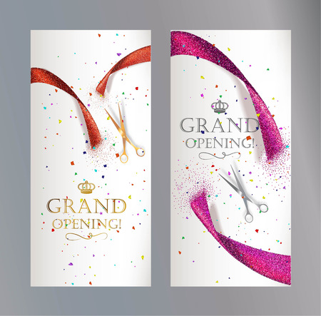 Grand Opening vertical banners with abstract red and pink ribbon and scissors Vectores