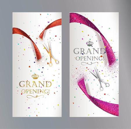Grand Opening vertikale Banner mit abstrakten roten und rosa Band und Schere Standard-Bild - 55939164
