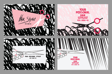 Hair stylist business cards with abstract hair and scissors