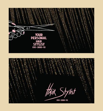 schönheit: Haar-Stylist-Visitenkarten mit Gold texturierte abstrakten Haar