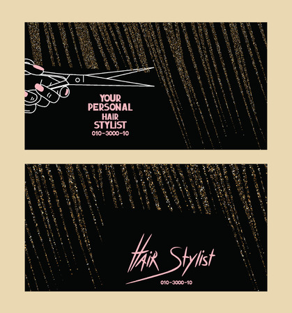 Hair stylist business cards with gold textured abstract hair