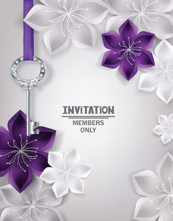 gold key: Invitation card with gold key and floral background. Vector Illustration