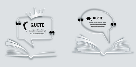 opened book: Quote paper frames with feather, crown and opened book Illustration