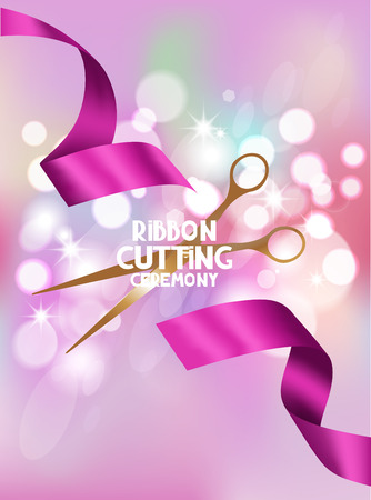 ribbon cutting: ribbon cutting ceremony card with pink ribbon and bokeh background