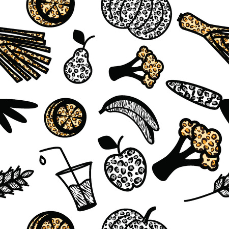 joke glasses: Seamless pattern with wild life colored healthy food objects